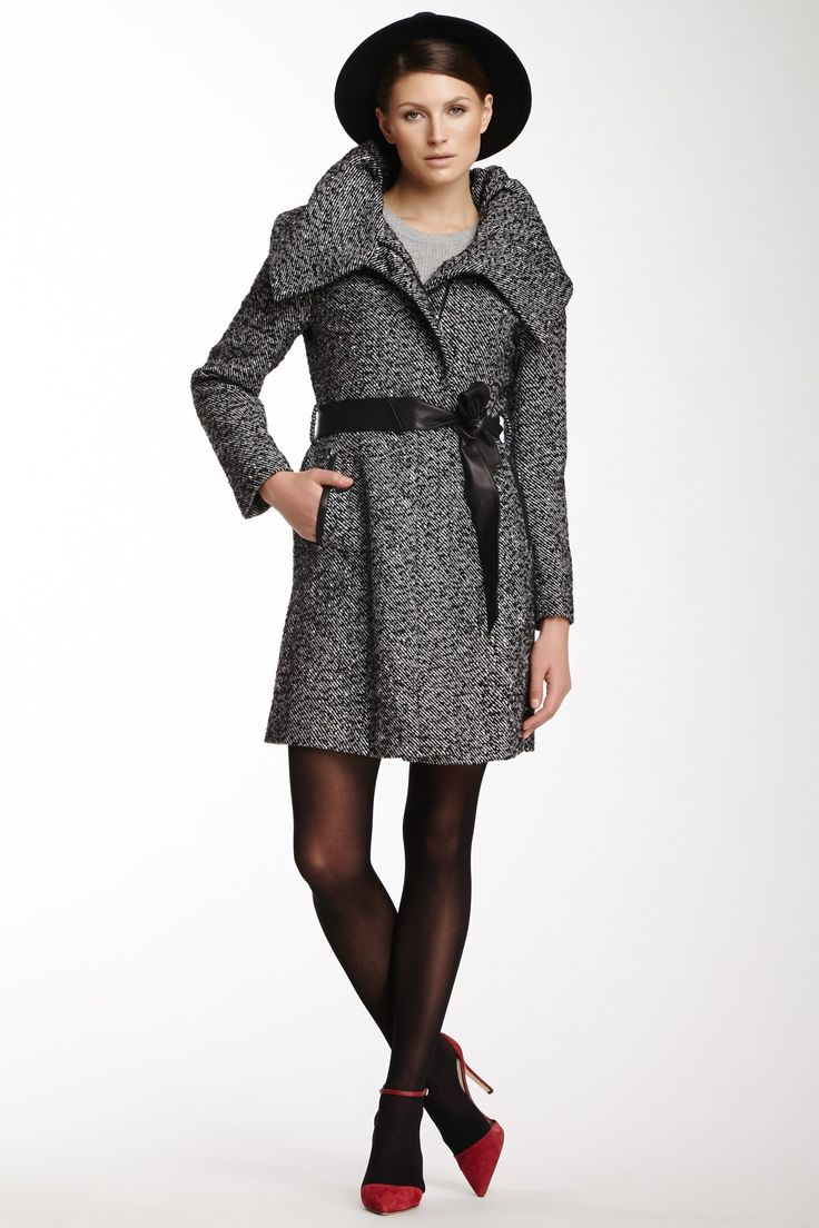Wool Blend Leather Trimmed Twill Coat : Love it