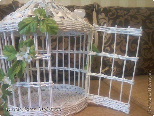 Jaula hecha de papel - Gaiola feita de canudos de jornal - wicker (paper) bird cage