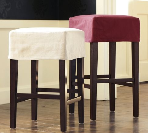 DIY Backless Barstool Slipcovers Great way to refresh a straw seat barstool with a slipcover