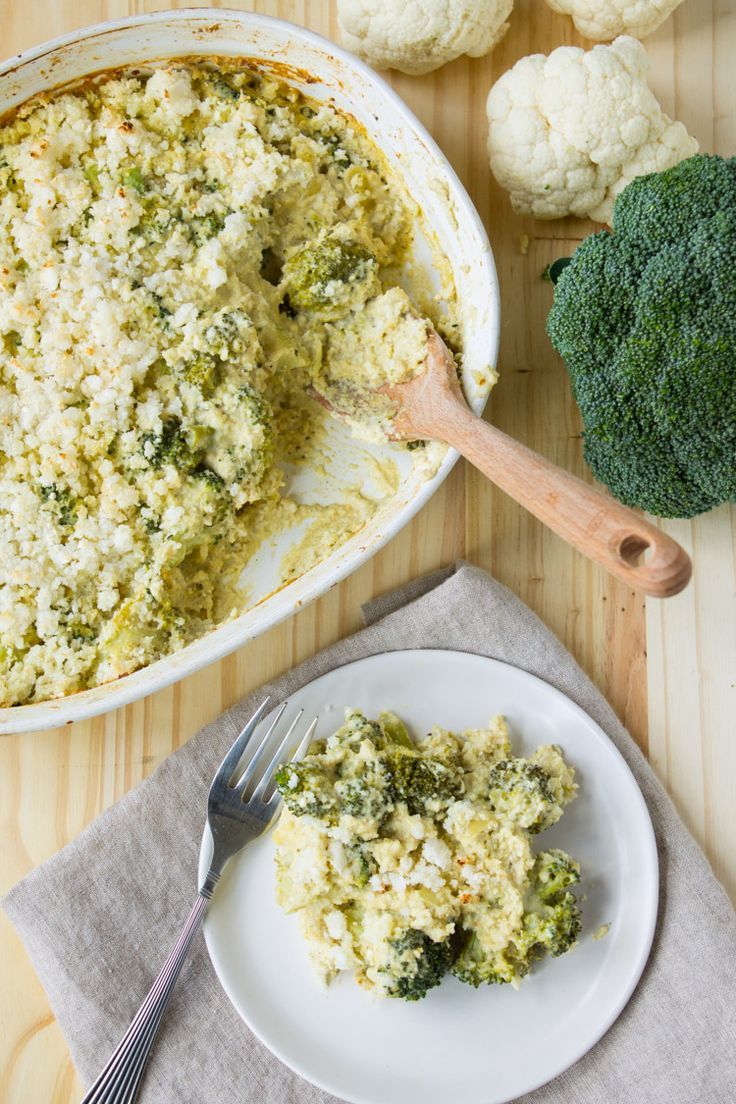 Vegan Broccoli and Cauliflower Rice Casserole:
