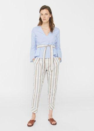 Ruffled stripe-patterned blouse | MANGO
