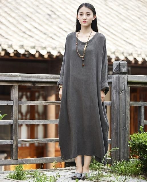 77e0a1f4fb Linen dress big size Batwing Cotton Women Long Dress Oversized Zen ...