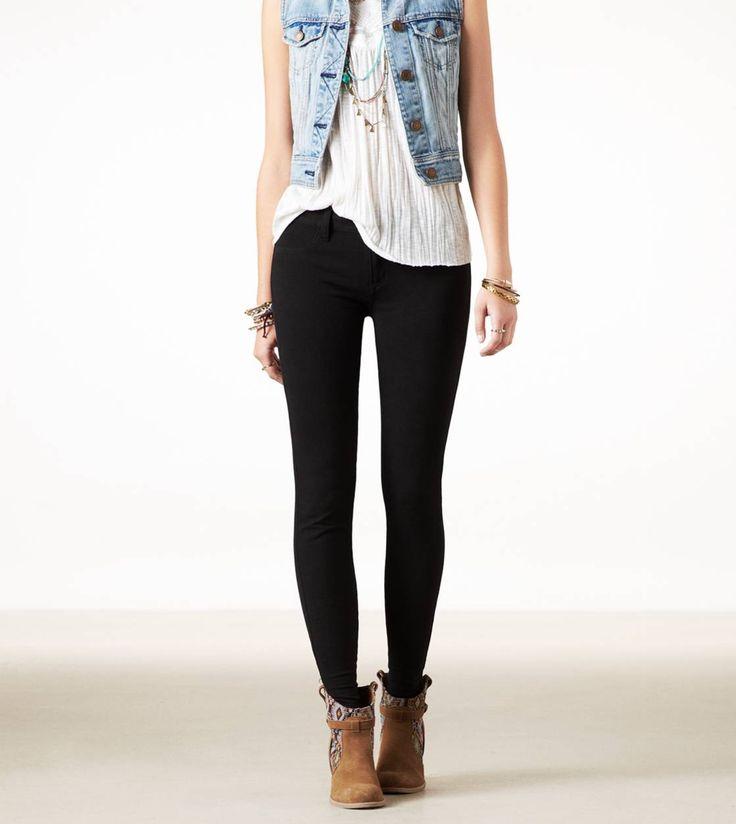 Preto, branco, jeans, colete, legging