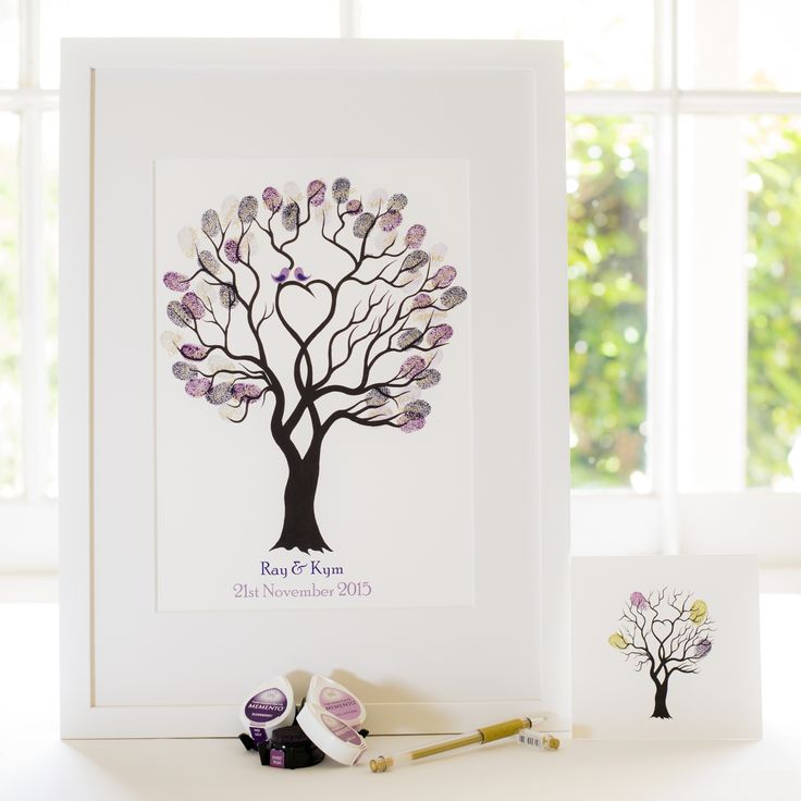 Unity Tree - Purple birds guest book for Wedding, funeral or other celebration. Illustrated by Ray Carter - The Fingerprint Tree® Made-to-order, ships worldwide. The Fingerprint Tree®, bespoke gifts you'll treasure!
