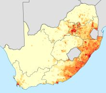 Languages of South Africa-Density of first-language speakers of Nguni languages.