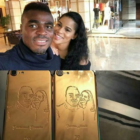 Former MBGN Iheoma Nnadi shares customized gold iPhones she and fiance Emmanuel Emenike got