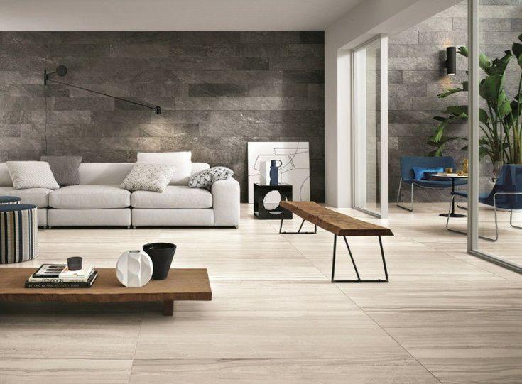 Salon moderne avec carrelage de sol aspect bois grand for Salon avec carrelage gris