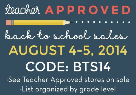 Back to School Sales 2014 | A directory of stores on sale 8/4-8/5, organized by grade level. Don't forget code BTS14 at checkout to save an extra 10%!