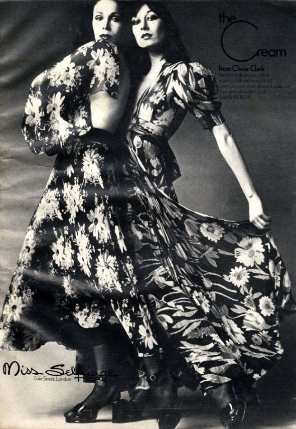 Anjelica Huston in vintage ad for Ossie Clark, Cosmopolitan, May 1972