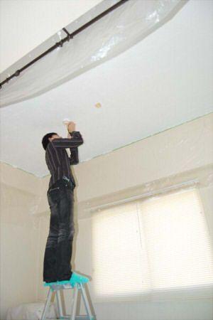 自室壁ペンキ塗り&リビングの漆喰天井その後 : DIYでミックス ...