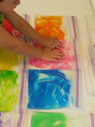 sensory bagsFood Colors, Dollar Stores, Cool Ideas For Hair Art, Sensory Bags, Colors Sensory, Food Coloring, Hair Gel, Gel Bags, Bright Colors