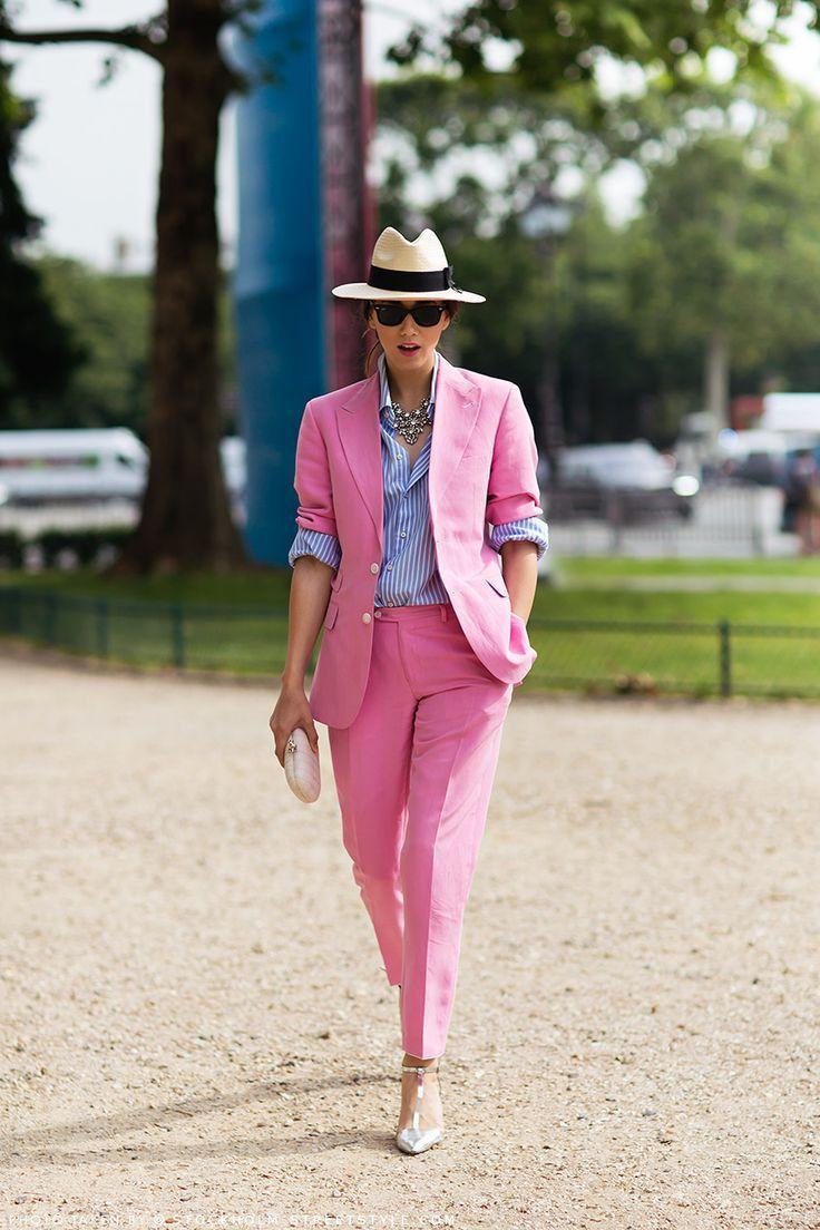 Women's Pink Blazer, White and Blue Vertical Striped Dress ...