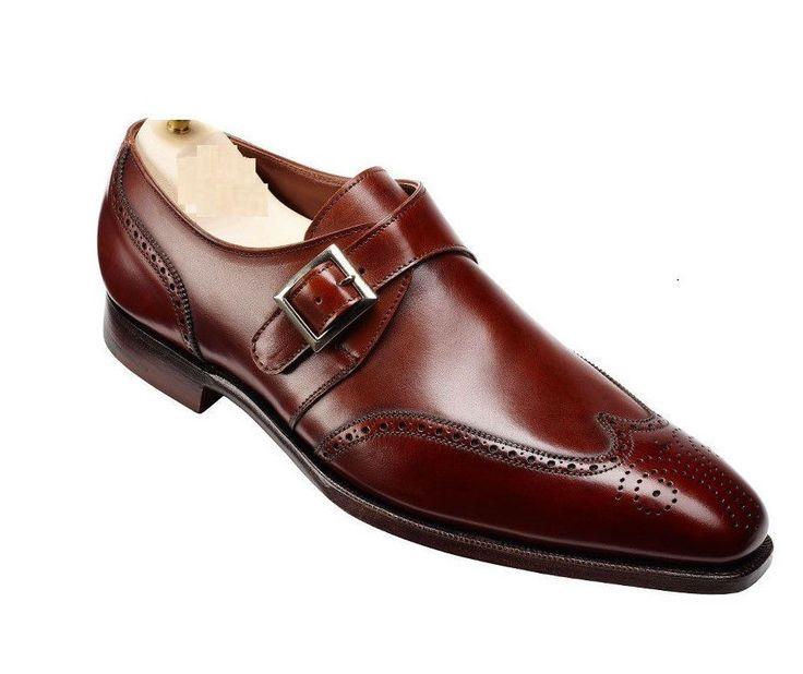 fake louboutin shoes online - Mens Handmade Crockett \u0026amp; Jones Replica Brown Monk Leather Dress ...