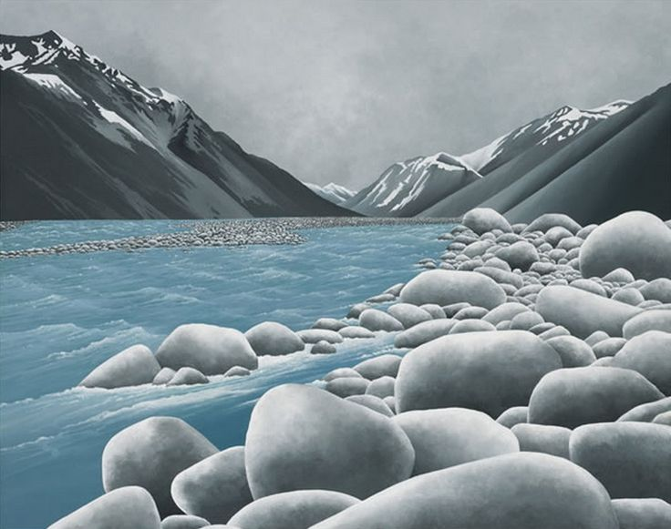 Smooth Stone Grey - New Zealand scene by artist Robyn Schroeder. Art-prints available from retailers throughout New Zealand and online at www.imagevault.co.nz
