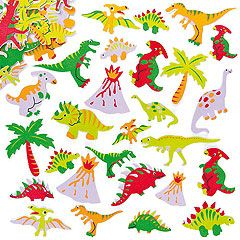 Do-you-think-he-saurus?! Fun foam dinosaur stickers to decorate crafts and collage. 20 assorted designs.