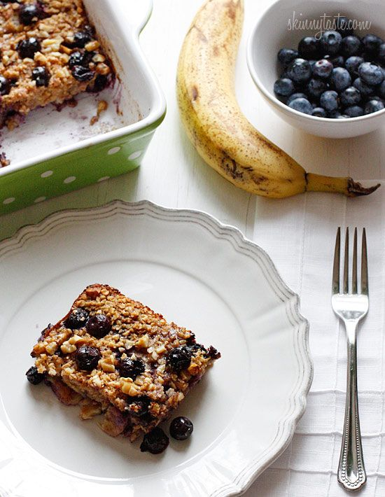 baked oatmeal w/ blueberries & bananas.