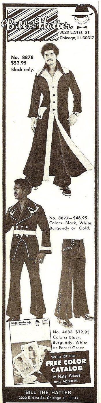 1970 Bill The Hatter Chicago #menswear #fashion shame