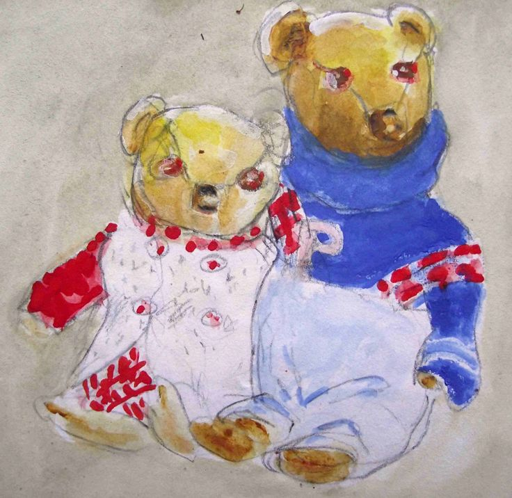 My sister's and my teddies have never been able to afford to marry. Here's a painting I did of them to commemorate the 50th anniversary of their engagement. (Watercolour)