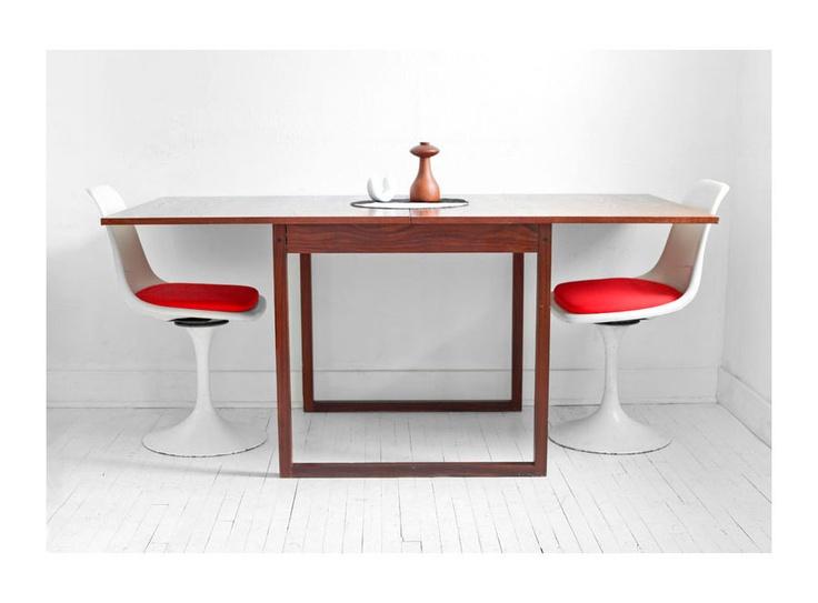 Vintage Extendable Teak Dining Table Mid Century Modern