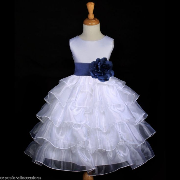 White Navy Blue Bridesmaid Wedding Tiered Organza Flower Girl Dress 2 4 6 7 8 10 | eBay