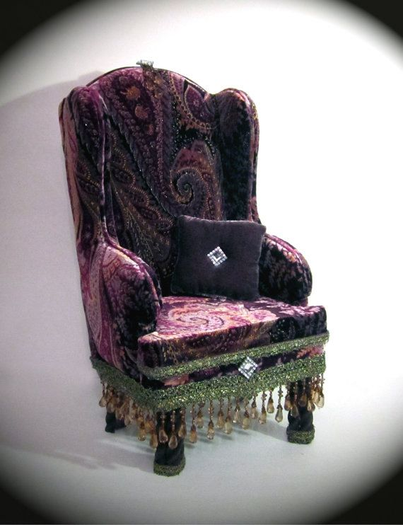 American Girl Crushed Velvet High Back Chair by HKDesignz on Etsy