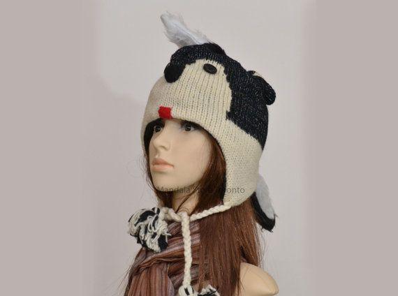 Skunk animal hat   warm hat  knit hat  beanie by HatsMittensEtc