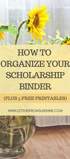 How to Organize Your Scholarship Binder (Plus Five Free Printables) | Scholarships are a great way to offset the price of college, but students can become easily overwhelmed and disorganized due to the large number of application he/she may have. In this post I am revealing how I organize my scholarship binder, along with releasing five printables that I have created and used to stay organized.