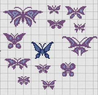 Shawkl: Butterflies  free cross stitch chart