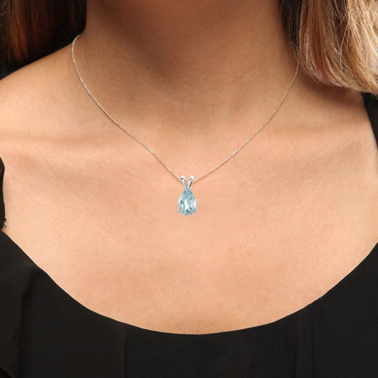 White Gold Silver Chain Included Dazzlingrock Collection 10K 9x7 mm Pear Cut Ladies Solitaire Pendant