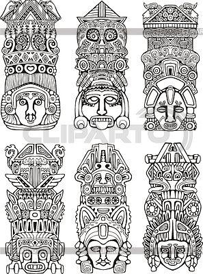 ацтекские узоры лицо - Поиск в Google