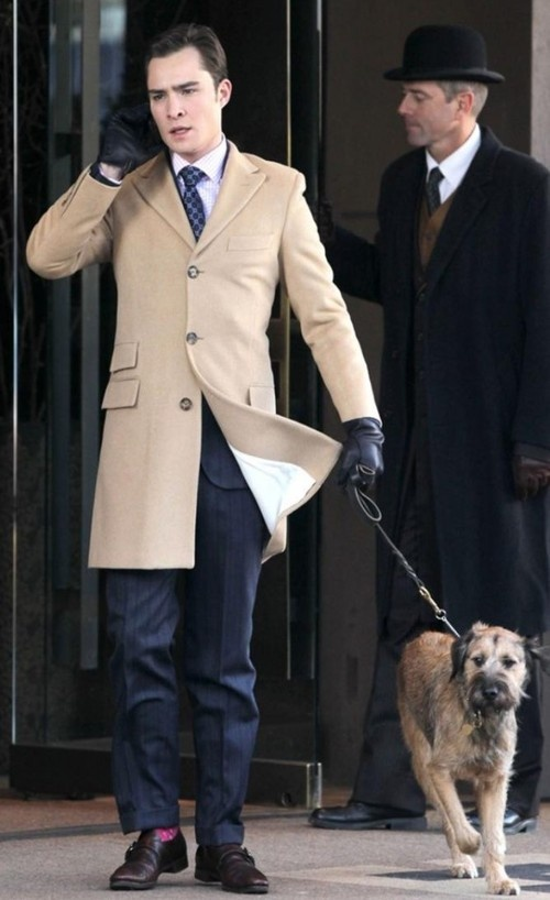Chuck Bass with a dog