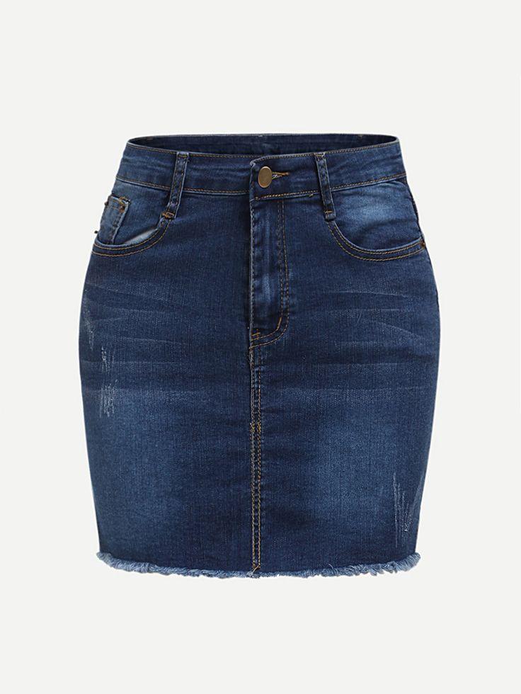 Shop Raw Hem Denim Skirt online. SheIn offers Raw Hem Denim Skirt & more to fit your fashionable needs.