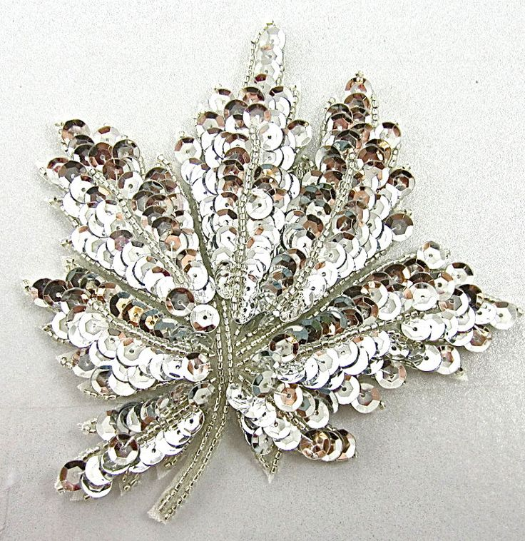 "Leaf with Silver Sequins and Beads 4.5"" X 4.5"""