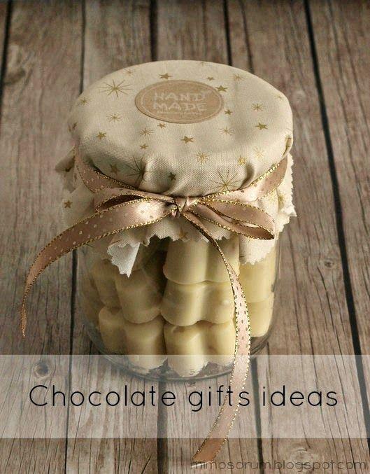 Envoltorio para bombones caseros con un tarro de cristal reciclado. Chocolate gifts ideas.