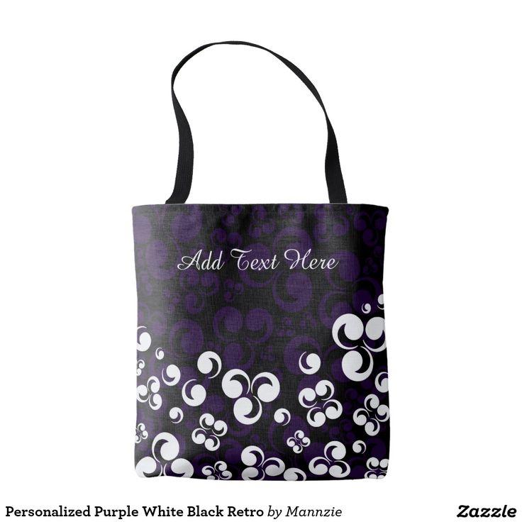 Personalized Purple White Black Retro Tote Bag