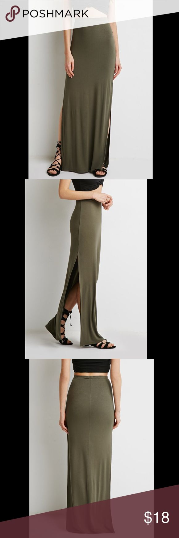 Olive Green Maxi Skirt with Double Slits Pretty olive green Skirt with slits on both sides. Worn only once. Forever 21 Skirts Maxi