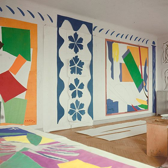 HENRI MATISSE, Paper cut-outs at the Hôtel Régina, Nice, France c.1953, which worked as Matisse's studio between 1949-1954. / MoMA