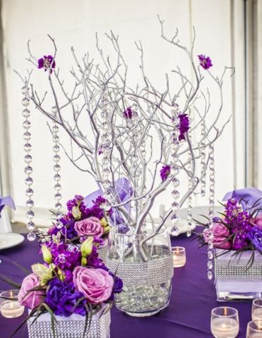 Silver Manzanita Branch Centerpiece By Jenu0027s Blossoms   Purple And Silver,  And Easy To DIY. Love The Branches