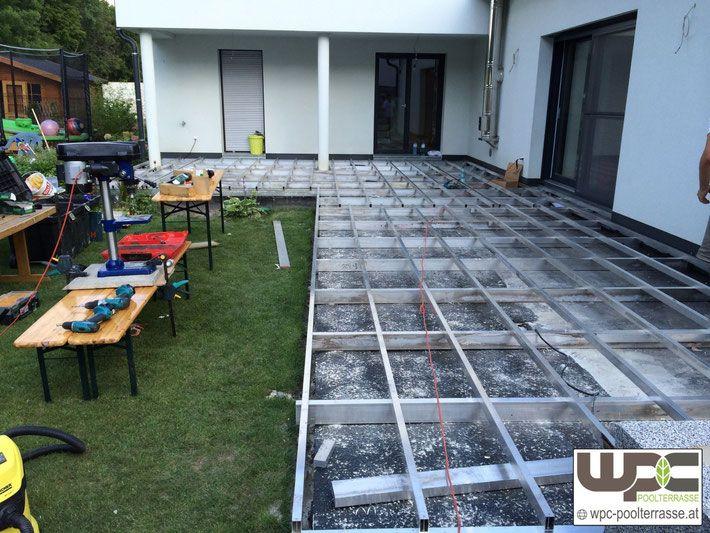Wpc Alu Unterkonstruktion Doppelt Aufbauhohe 19cm Auf Beton Terrasse Bambus Wpc Terrassendielen Alum Terrasse Unterkonstruktion Terrassendielen Pool Terrasse