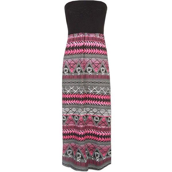 Petite Black And Pink Bandeau Aztec Maxi Dress $31.00