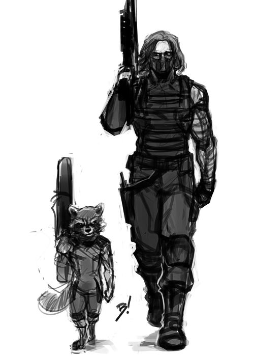 bogeymanblitz: berunov: Why the hell not. My favorite gun-toting maniacs MY MIND REALIZED!!! …..Rocket is Bucky's spirit animal. That's how he stays so calm in combat. *mindblown*