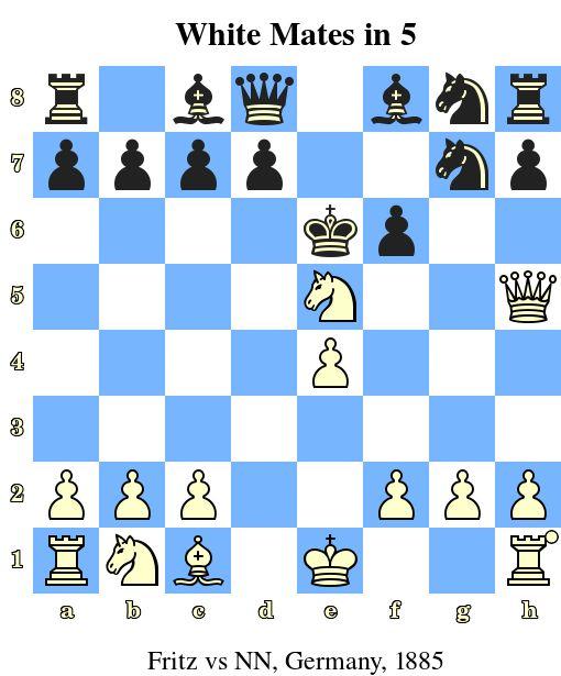 White Mates in 5. Fritz vs NN, Germany, 1885 www.chess-and-strategy.com #echecs #chess #jeu #strategie