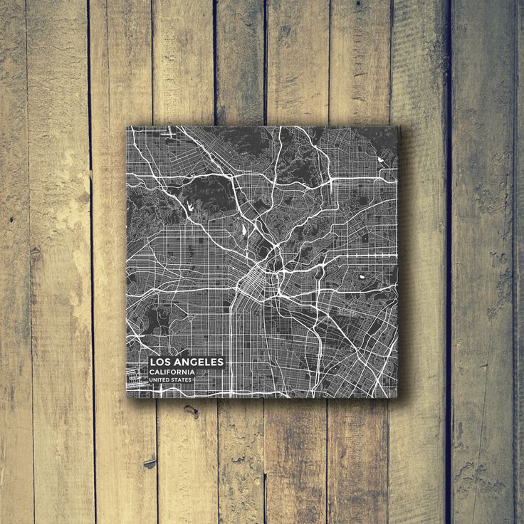 Gallery Wrapped Map Canvas of Los Angeles California - Subtle Contrast - Los Angeles Map Art