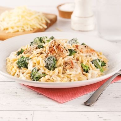 Orzo crémeux poulet et cheddar - Soupers de semaine - Recettes 5-15 - Recettes express 5/15 - Pratico Pratique