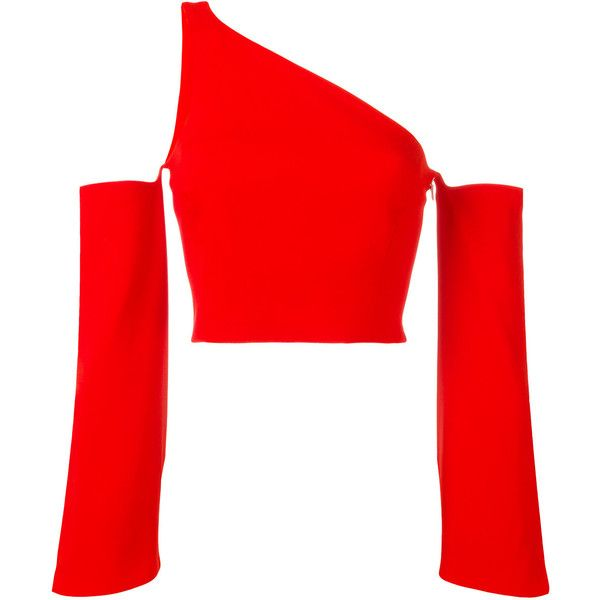 Mugler single strap cut-off blouse (€1.485) ❤ liked on Polyvore featuring tops, blouses, shirts, red, shirt top, red blouse, cut off shirts, cut off top and red shirt