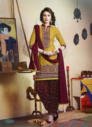 Exceptional Yellow & Maroon Cotton Patiyala Salwar Suite