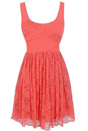 Tracy Chiffon and Lace Dress in Coral  www.lilyboutique.com