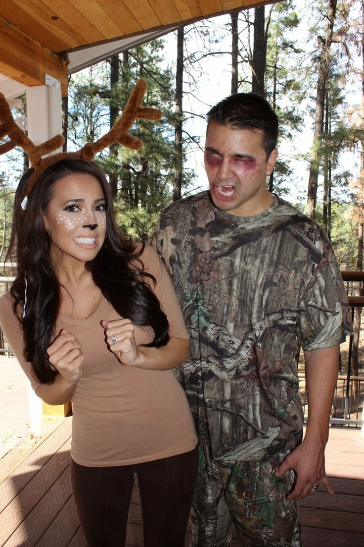 SCARY Zombie Hunter and Cute Deer Halloween Makeup costume look. Brown leggings and tan top. Realtree camo for guys. Fashion Blogger @sarahnelizabeth