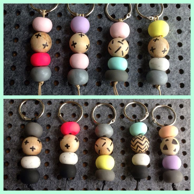 Keyrings made using claybeads & wood beads.