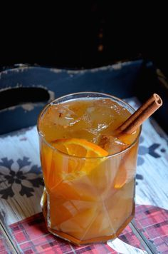 Try this easy recipe for a chilled apple cider and rum punch cocktail with Fall spices.